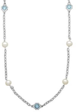 Lord & Taylor Sterling Silver Pearl & Blue Topaz Station Necklace