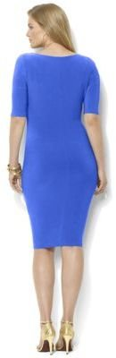 Lauren Ralph Lauren Plus Cowlneck Draped Matte Jersey Dress