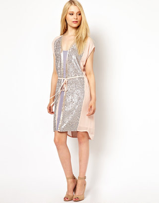 French Connection Sequin And Chiffon Dress