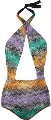 Missoni Metallic crochet-knit one-piece