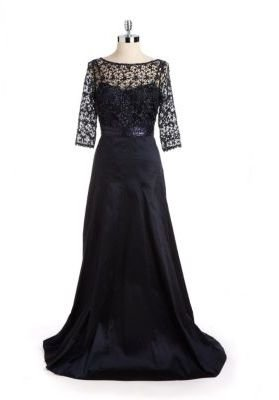 Kay Unger Metallic Lace & Sequined Evening Gown