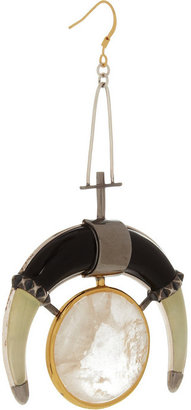 Eddie Borgo Moon Drop rhodium-plated, onyx and new jade earrings