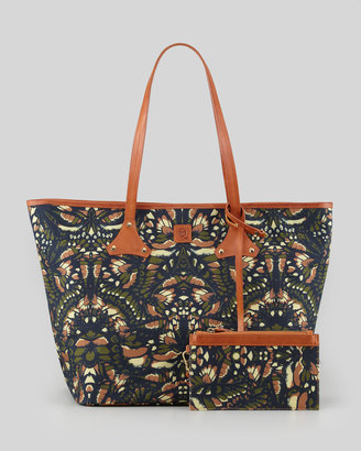 McQ by Alexander McQueen Butterfly-Print Canvas Shopper Tote Bag, Camouflage
