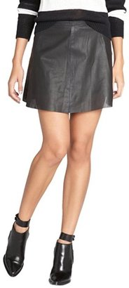 Love Leather black perforated leather mini skirt