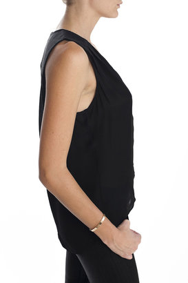 Parker Magda Sleeveless Button Down Top Black