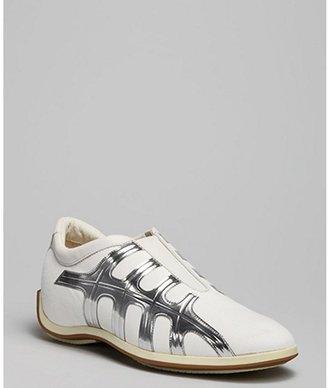 Hogan white canvas silver leather stripe sneakers