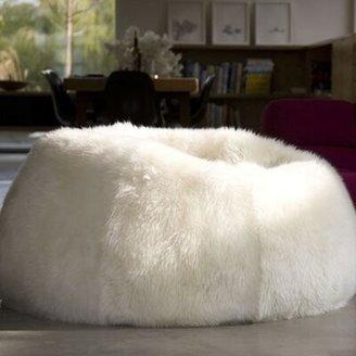 "Pure Rugs Patagonia Sheepskin Standard Classic Bean Bag Upholstery: Natural White, Size: 50"" Diameter"