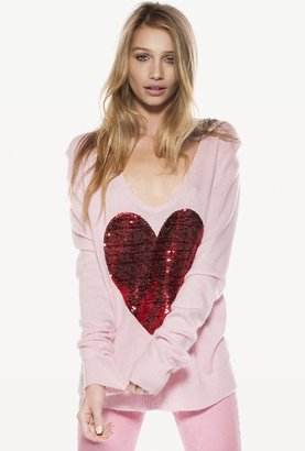 Wildfox Couture Sequin White Label Heart Sweater in Pink