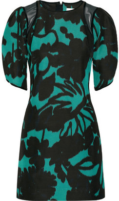 Milly Mesh-paneled printed faille dress