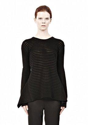 Alexander Wang Fur Stripe Long Sleeve Peplum Top