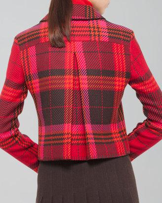 Akris Punto Cropped Wool Plaid Jacket