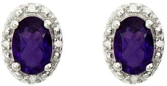 Sterling Oval Gemstone Stud Earrings with Diamond Accent