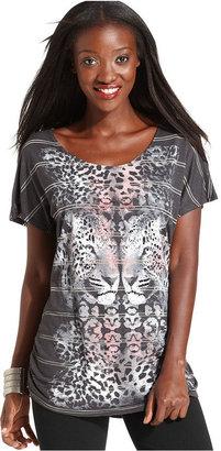 Style&Co. Sport Top, Short-Sleeve Leopard-Print Tee