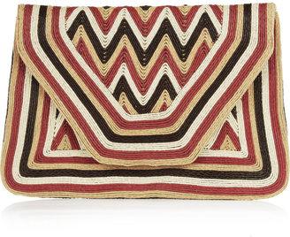 Antik Batik Paco cord-embellished leather envelope clutch