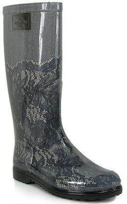 Valentino DWS00275 - Black Lace Print Rubber Rain Boot