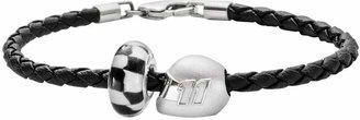 "Insignia Collection NASCAR Denny Hamlin Leather Bracelet & Sterling Silver ""11"" Helmet Bead Set"