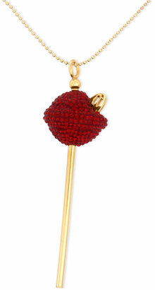 Simone I. Smith 18K Gold over Sterling Silver Necklace, Medium Red Crystal Lollipop Pendant