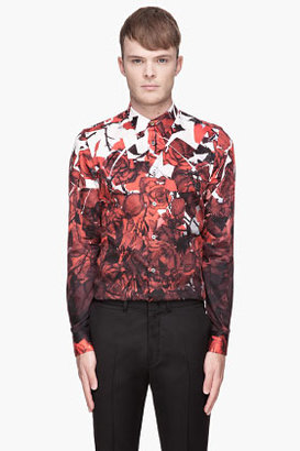 Paul Smith Red and white gradient Rose Print Shirt