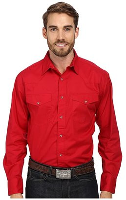Roper L/S Solid Basic Snap Front (Red) Men's Long Sleeve Button Up