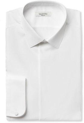 Valentino Bib-Front Piqué Slim-Fit Cotton Tuxedo Shirt