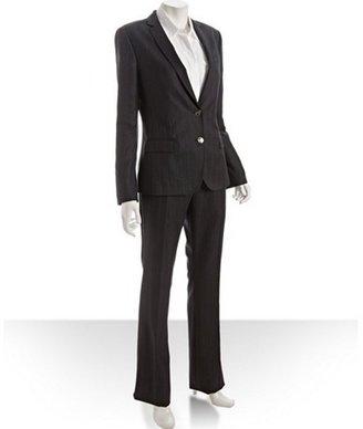 Dolce & Gabbana dark grey pinstripe herringbone wool-cashmere 2-button pant suit