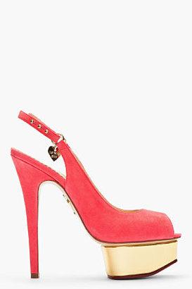 Charlotte Olympia Bright Pink Suede Peep Toe Bon Bon Slingbacks