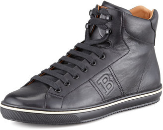 Bally Oxen Logo-Embossed High-Top Sneaker, Black
