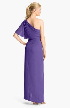 BCBGMAXAZRIA 'Kendal' One Shoulder Chiffon Gown