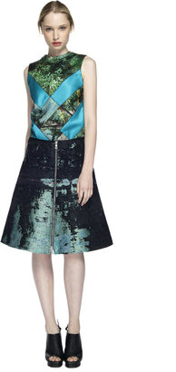 Proenza Schouler Teal and Black Zip Front A-Line Skirt