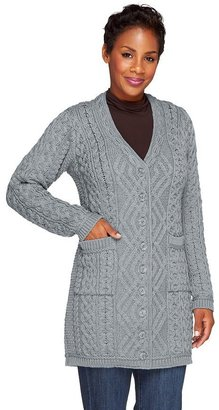 Aran Craft Merino Wool Long Boyfriend Button Front Cardigan