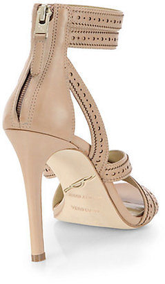 Brian Atwood Lucila Ankle-Strap Leather Sandals
