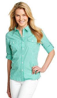 Jones New York Sport Roll Sleeve Buttonfront Shirt