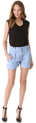 Theory Ettie Leather Shorts