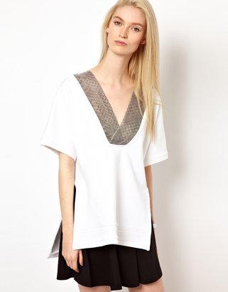 Chalayan Gray Line Short Sleeve Sweatshirt Top