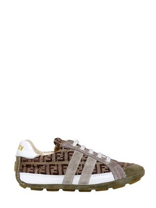 Fendi Fabric And Suede Logo Sneakers