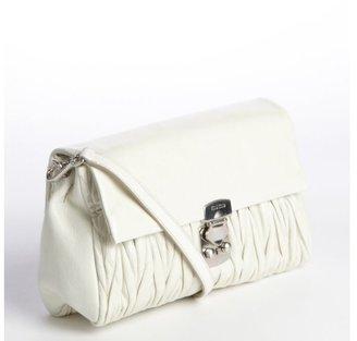 Miu Miu Cream Leather Quilted Convertible Clutch