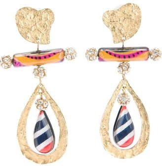 Christian Lacroix Vintage embellished heart earrings