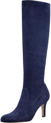 Manolo Blahnik Pascaputre Suede Knee-High Boot, Navy