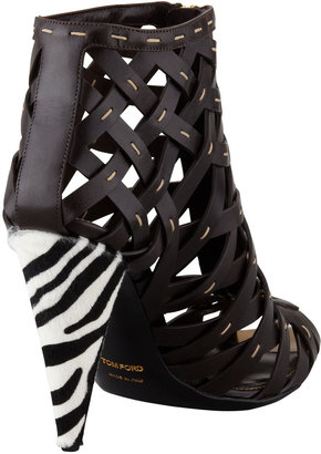 Tom Ford Hand-Stitched Lattice Leather Bootie