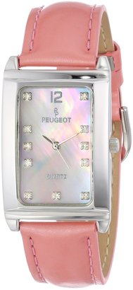 Peugeot Women's 330PK Silver-Tone Shiny Pink Leather Strap Watch