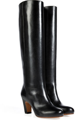 Maison Martin Margiela Leather Curved Heel Tall Boots in Black