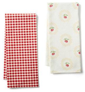 S/2 Tea Towels, Rosebud/Red