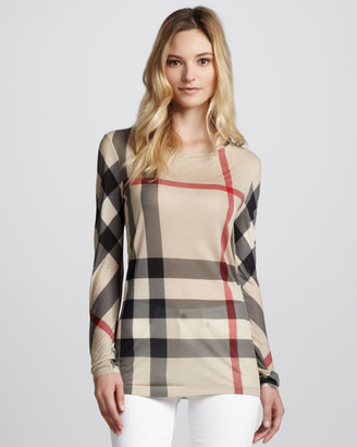 Burberry Exploded-Check Long-Sleeve Tee, New Classic