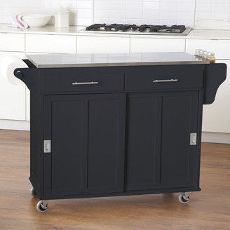 JCPenney JCP Home Collection Sliding-Door Rolling Kitchen Cart with Stainless Steel Top and Towel Holder