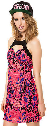 Reverse The Abstract Floral Brocade Dress in Hot Pink