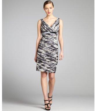 Carmen Marc Valvo heather printed silk sleeveless embellished cocktail dress
