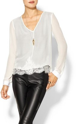 Robert Rodriguez Lace Illusion Silk Top
