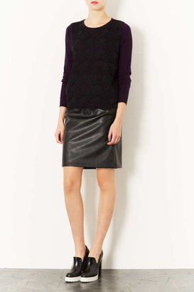 Topshop Knitted Lace Front Jumper