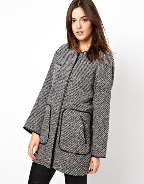 Asos PU Trim Patch Pocket Coat - Gray