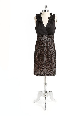 Donna Ricco Sleeveless Ruffle And Lace Dress